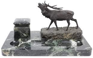 Bronze Elk Figural Marble Base Desk Set