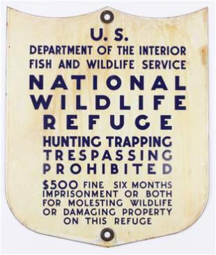 US National Wildlife Refuge Enamel Sign
