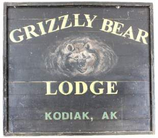 Large Grizzly Bear Lodge Wooden Sign