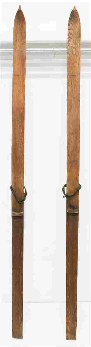 Early Long Wooden Skis