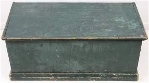 19th c. Pine 6 Board Blanket Box in Green Paint