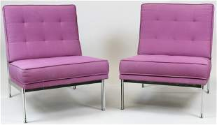 Pair of signed Florence Knoll loung chairs