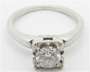 1 ct diamond solitaire engagement ring in 18k w.g