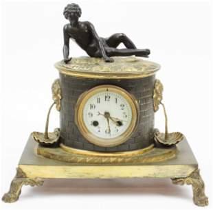 19th c Gilt Bronze Narcissus Garniture Clock