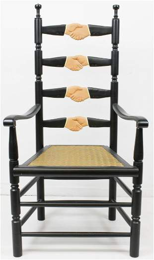 Stephen Huneck Clasped Hands Arm Chair