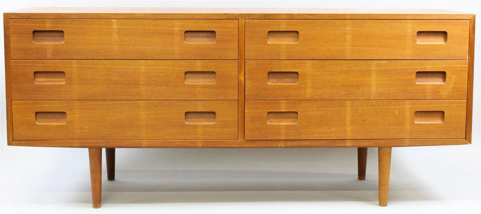 Danish teak 6 drawer long chest