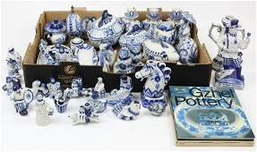 Collection of Gzhel Russian Pottery