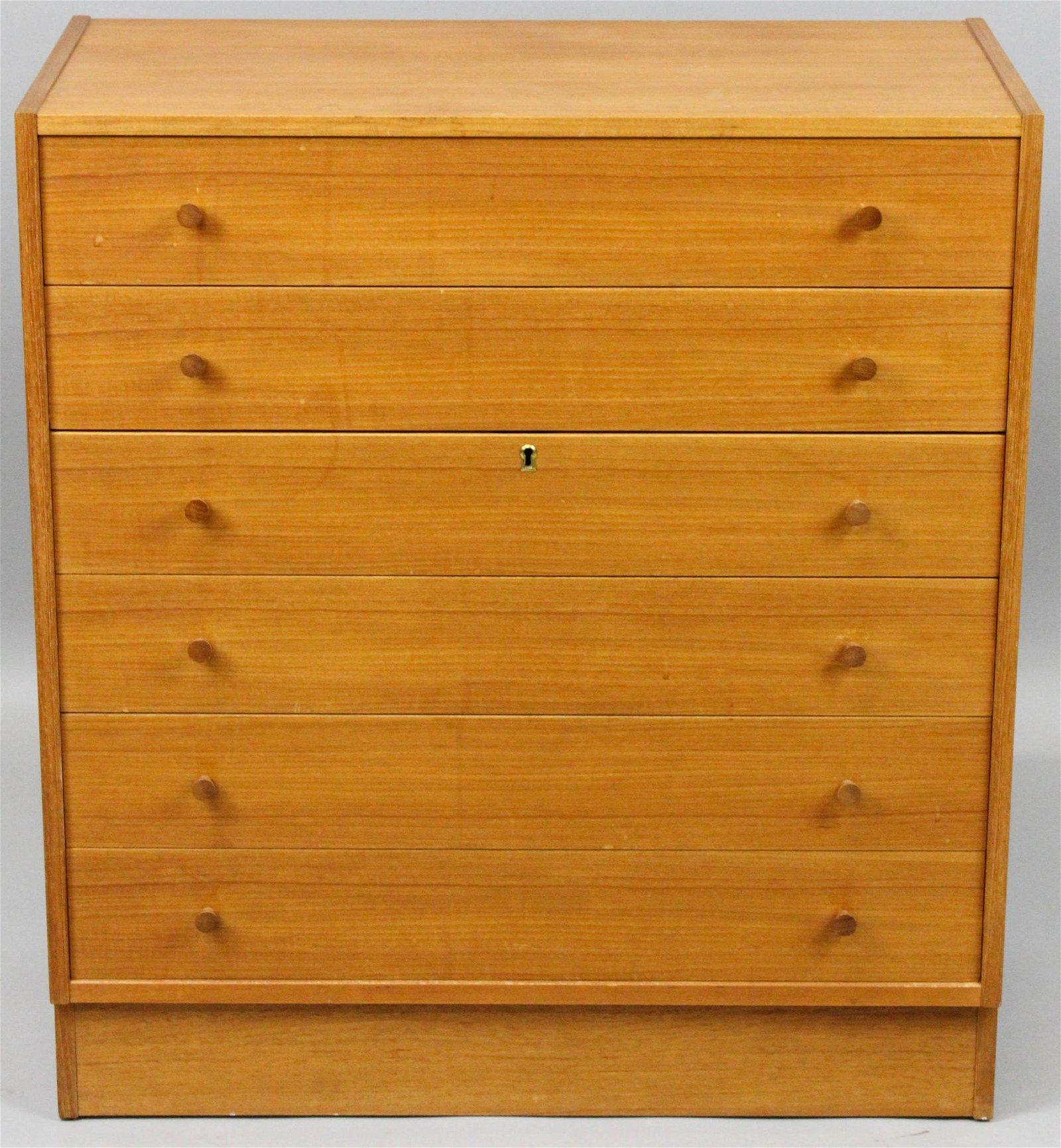 Danish teak 6 drawer dresser