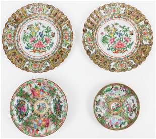 Chinese Famille Rose Canton Plates, Bowls