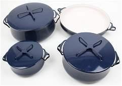 4 pcs. Dansk Kobenstyle Blue Enamel Cookware