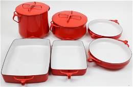 6 pcs. Dansk Kobenstyle Red Enamel Cookware