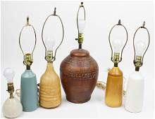 6 MCM Pottery table lamps including Lotte Bostlund