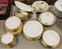54 pcs Lenox Lowell Gold Band Porcelain Dinnerware