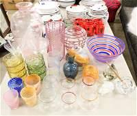Large lot Mid-Century, Contemporary Glassware