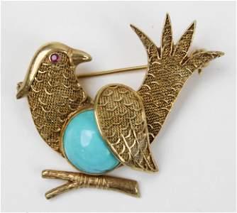 14k yellow gold, ruby, & turquoise bird pin