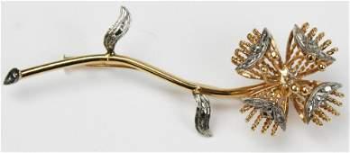 14k  diamond floral brooch pin