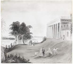 19th c Signed Sandpaper Picture of Mt Vernon