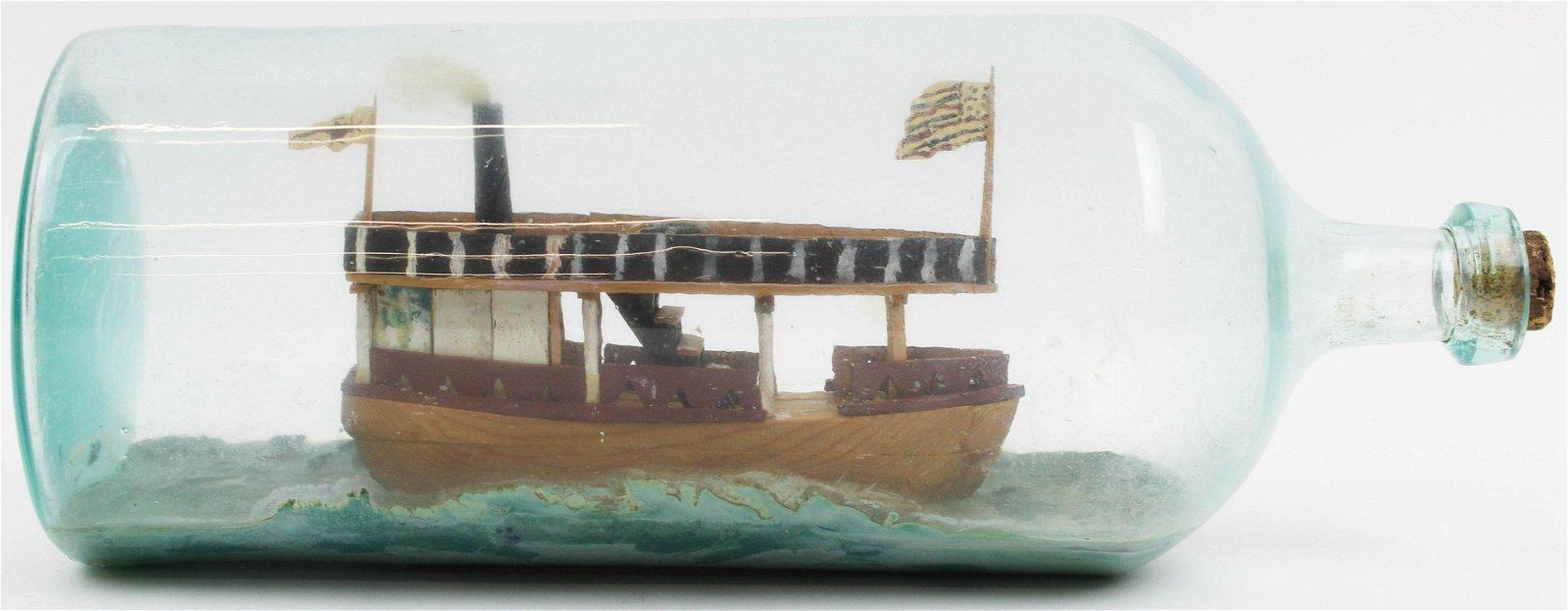 Adirondack/ Lake Champlain Ship in a Bottle