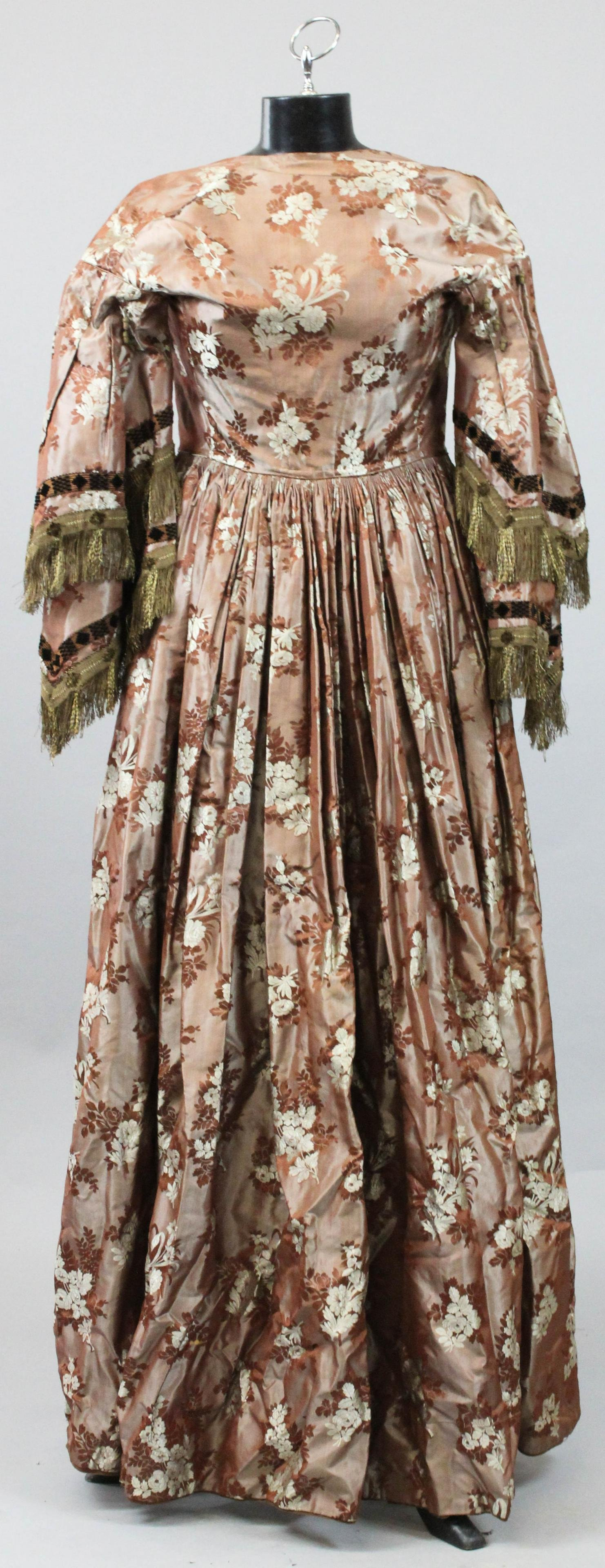 Mid 19th c Silk Dress with Chintzed Lining