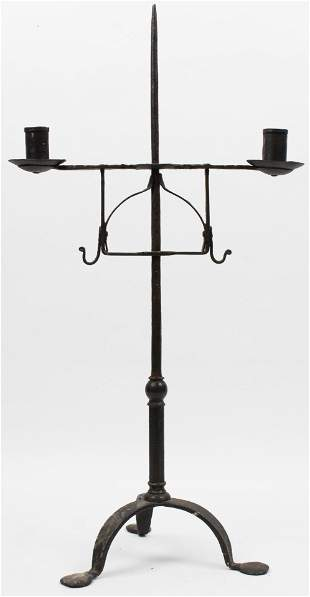 Early Wrought Iron Tabletop Candlestand