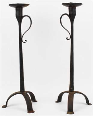 Arts & Crafts Era Wrought Iron Candlesticks