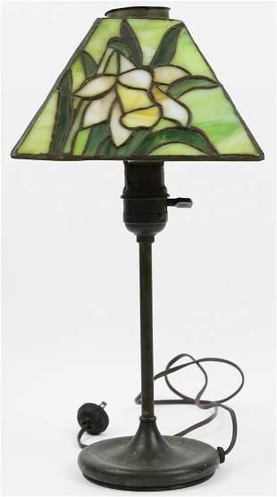 Art Nouveau Leaded Glass Desk Lamp