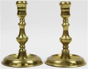 18th c Signed Brass Candlesticks