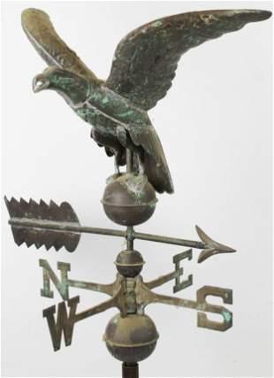 20th c Copper Eagle Weathervane