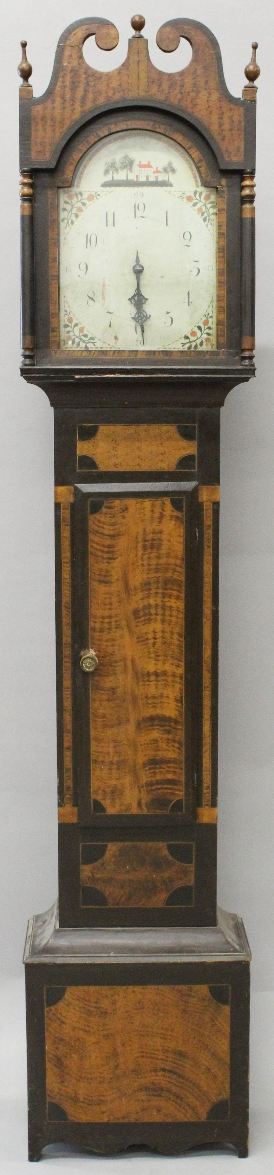 Ca. 1810 Vermont paint decorated tall case clock