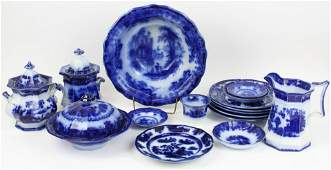 16 pcs Flow Blue Ironstone Transferware China