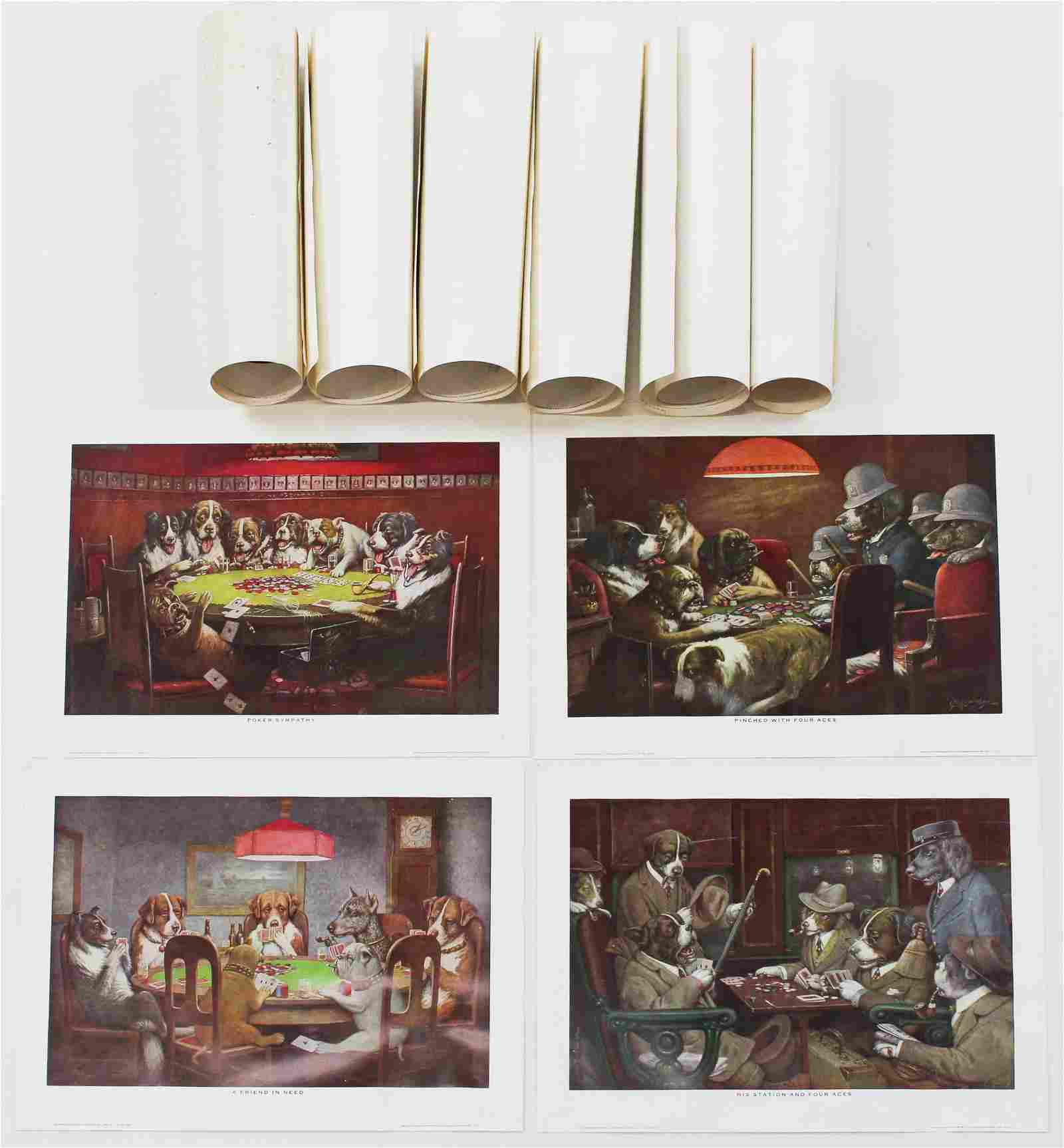 2 Sets of 5 Coolidge's Dogs Playing Poker