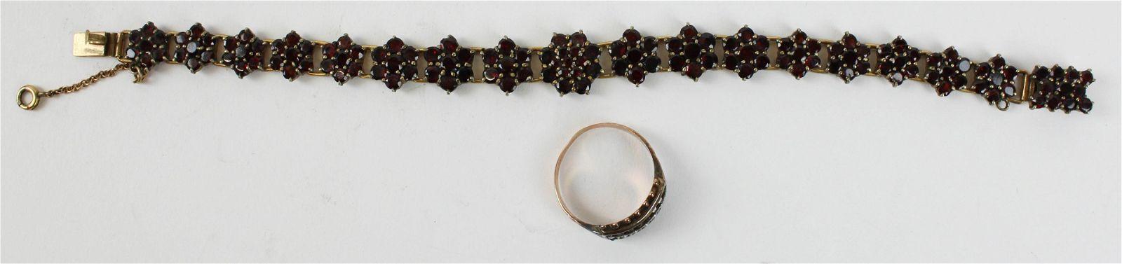 Victorian garnet bracelet and ring