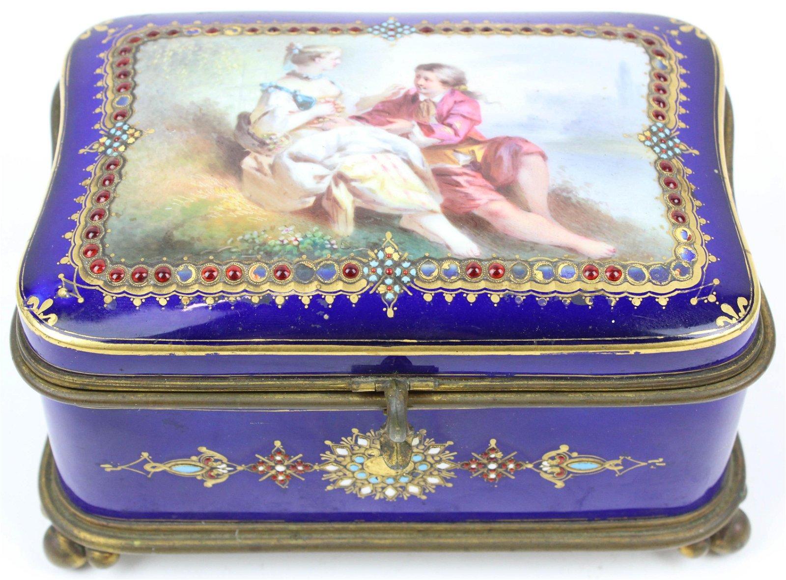 Sevres Enamel Decorated Casket