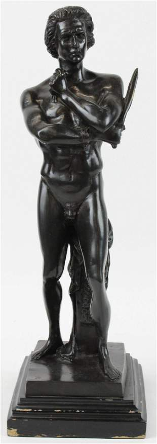 Bronze of a Naked Warrior with Sword