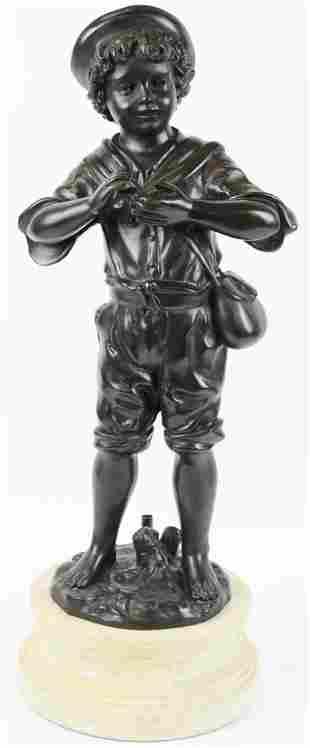 Patinated Bronze Sculpture of a Boy