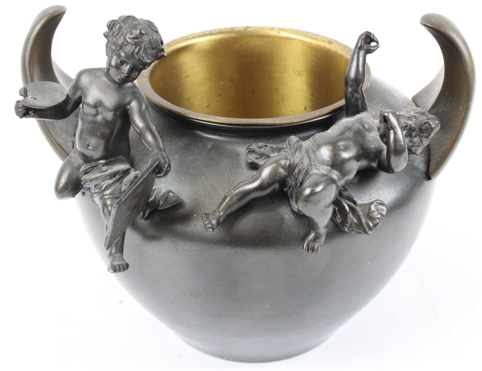 Patinated Bronze Bowl with Putti
