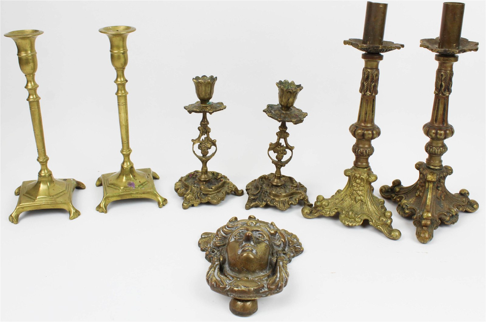 Bronze Door Knocker, Signed Brass Candlesticks