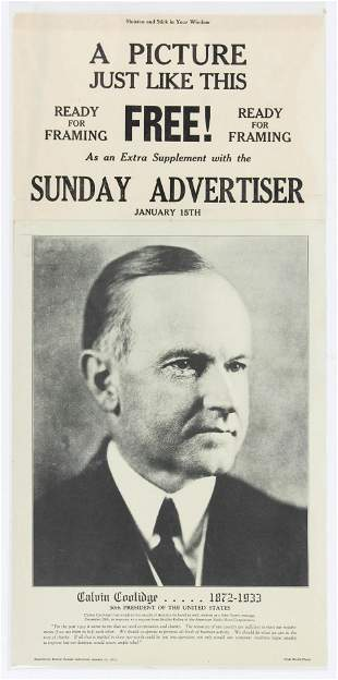 1933 Calvin Coolidge Store Advertisement