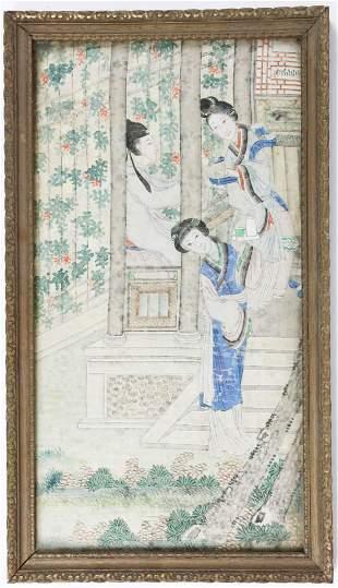 19th c Chinese Watercolor on Silk Tea Scene