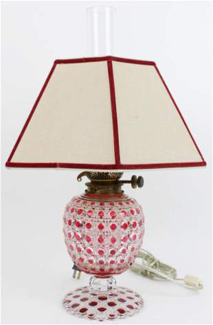 Ruby Flashed Brilliant Period Cut Glass Lamp Base