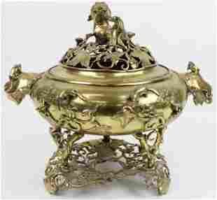 Chinese Reticulated Brass Censer Pot