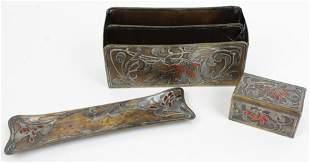 Art Nouveau Sterling, Bronze & Enamel Desk Set