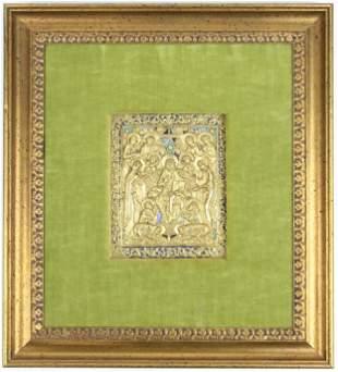 18th- 19th c Gilt & Enamel Icon