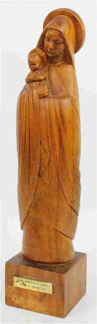 Sylvia Daoust Vierge et Enfant wooden sculpture