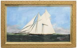 Circa 1900 Bas Relief American Sailing Ship