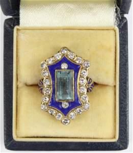 Aquamarine, diamond, & blue enamel ladies ring