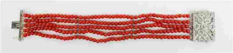 Fine diamond and coral Art Deco style bracelet