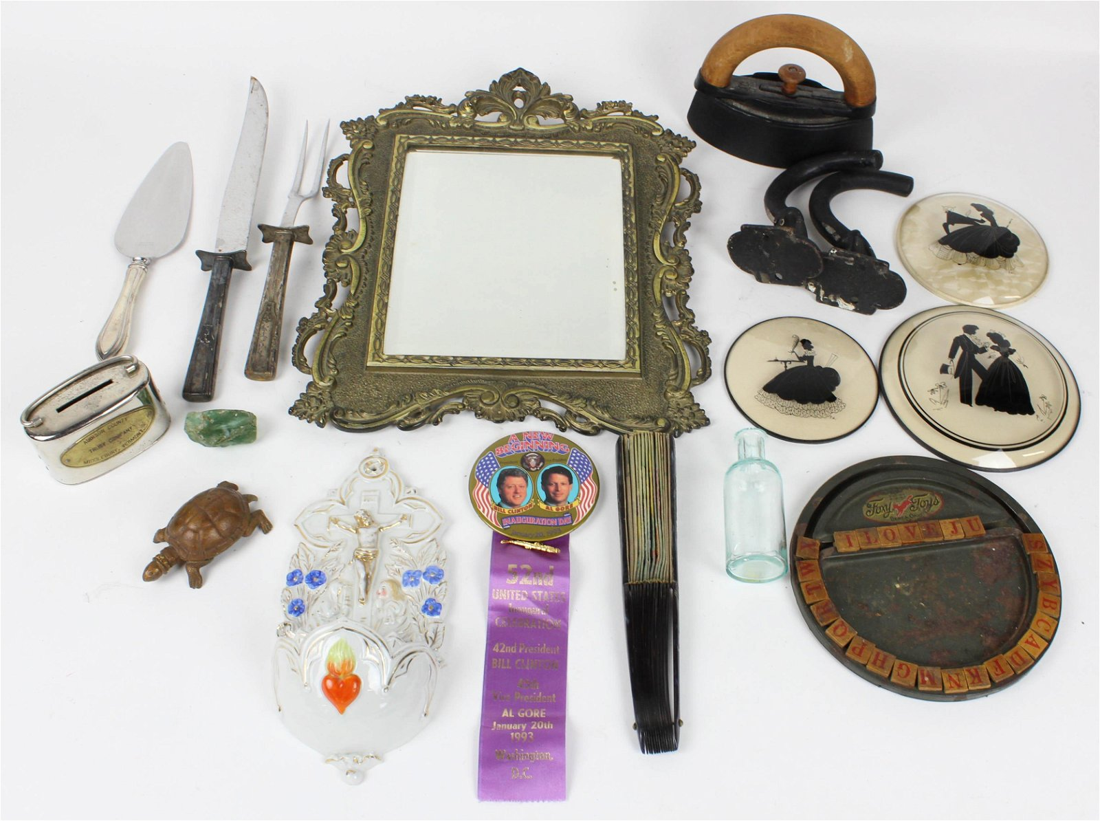 Group of Assorted Smalls incl. Bank, Mirror, etc.