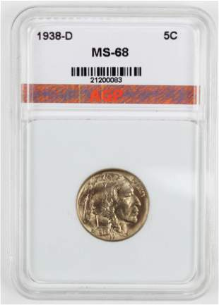 US 1938-D Buffalo Nickel MS-68