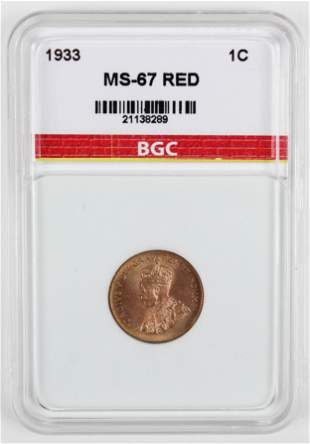 1933 Canada One Cent MS-67